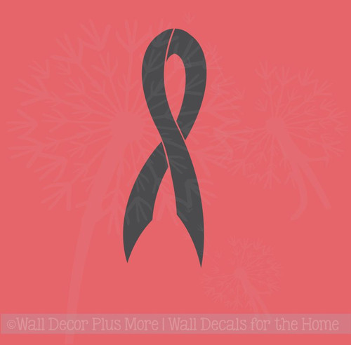Breast Cancer Ribbon Vinyl Car Decal 8x3 Black