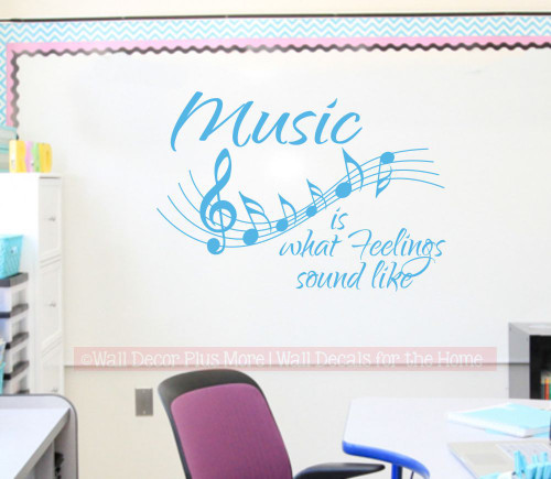 WD327 Music Staff Wall Decal Sticker with Quote Feelings Sound Like Piano Music Room Classroom Bayou Blue