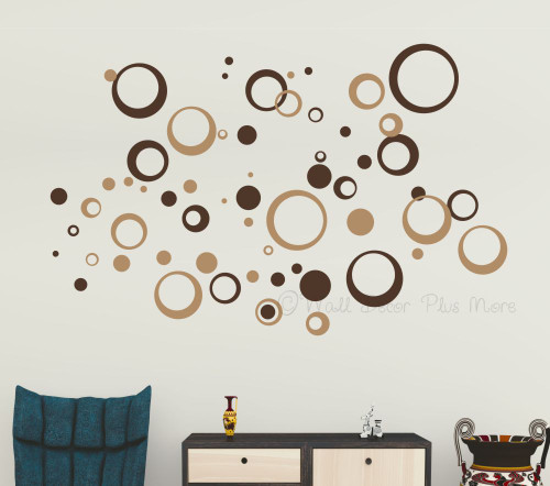 Wall Circles Rings Dots Art Decor-Tan and Chocolate 2-Color stickers