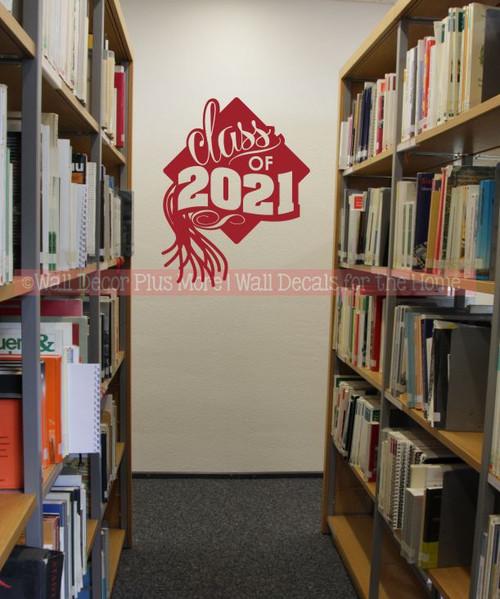 Class of 2021 Wall Vinyl Art Sticker for Graduation Decoration Grad Hat Art 23x18-Inch-Red