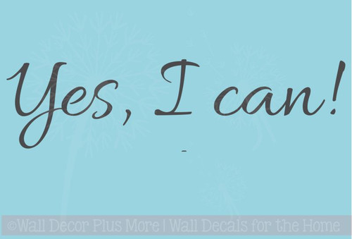 Yes I Can Wall Decal Stickers Motivational Quotes For Home Decor