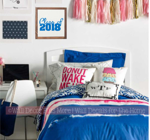 Option 5 - Graduation Vinyl Wall Decal Stickers applied to a 10x10 wood frame - Traffic Blue