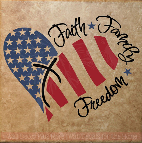 Faith Family Freedom with Heart Wall Decal Sticker Patriotic-Deep Blue, Red, Black