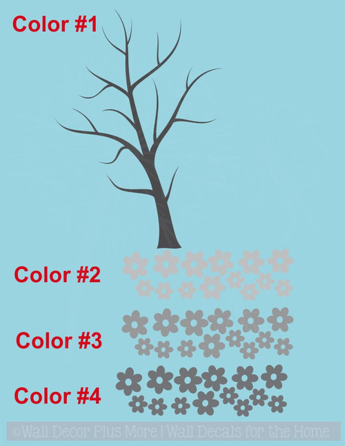 Tree Wall Decal Art with 3-Color Flowers, Girls Room Decoration