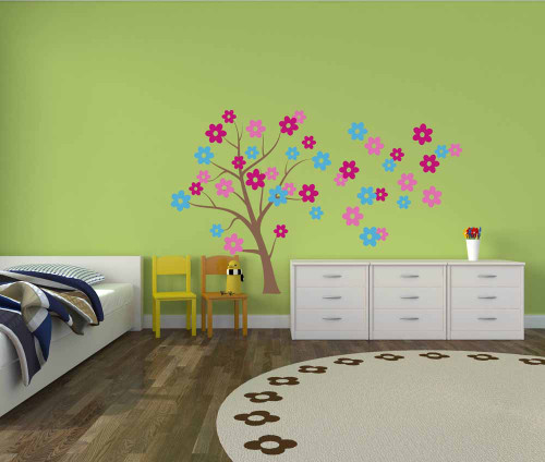 Tree Wall Decal Art with 3-Color Flowers, Girls Room Decoration-Geyser Blue, Lipstick, Carnation