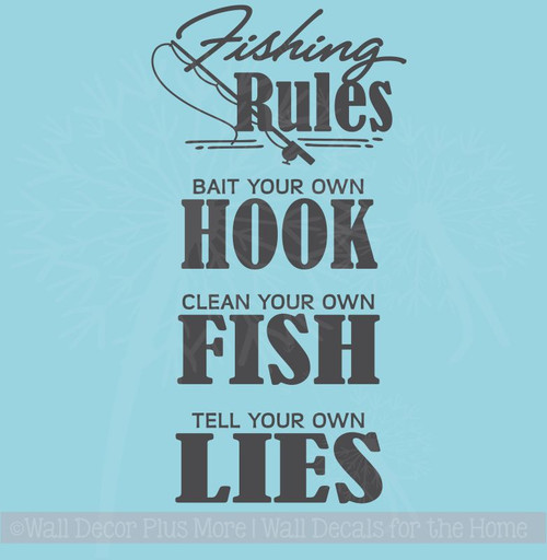 Fishing Rules Wall Vinyl Sticker Decal Art Lettering Man Cave Camper Decor
