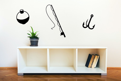 Fishing tackle - pole, bobber, and hook Wall Decal Vinyl Stickers black
