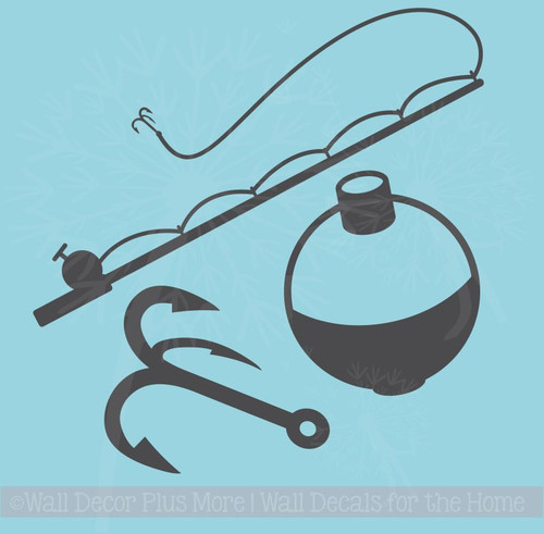 Fishing tackle Wall Decal Stickers Fishing Pole hook and bobber