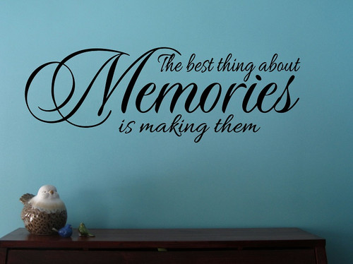 Wall Decals Vinyl Sticker Best Thing About Memories Quote Wall Lettering-Black