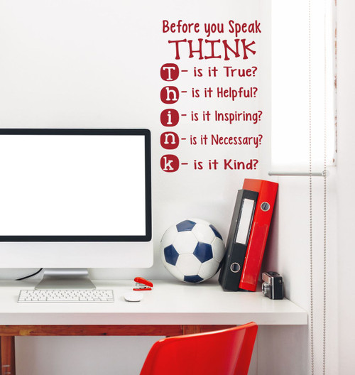 Before you Speak THINK Children's Wall Decal Decor Quote-Red