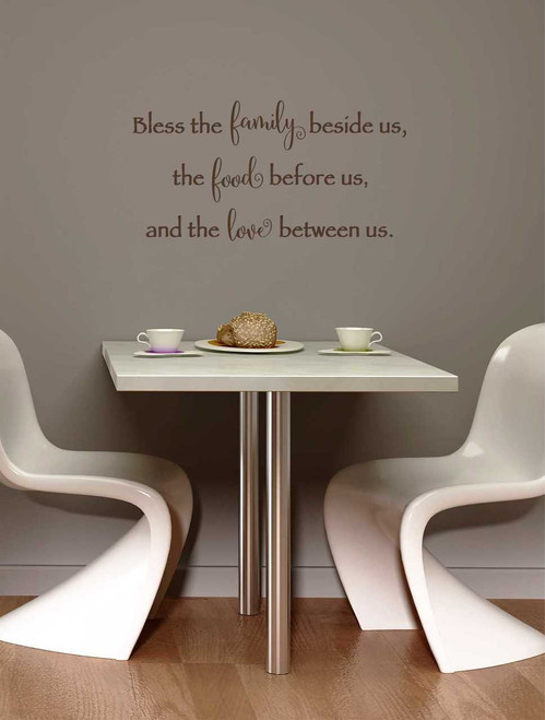 Bless Family, Food, and Love Wall Decal Quote-Chocolate Brown