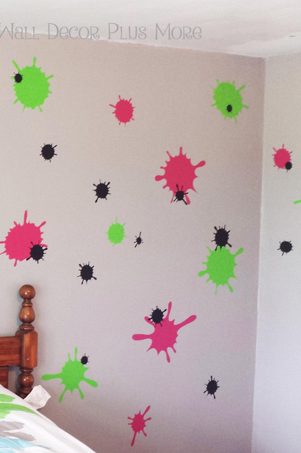 Kids Room Splatter Wall Stickers for Cool Bedroom Wall Decor