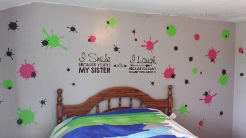 Large Splatter Vinyl Wall Decal Stickers Pink Green Girls Room