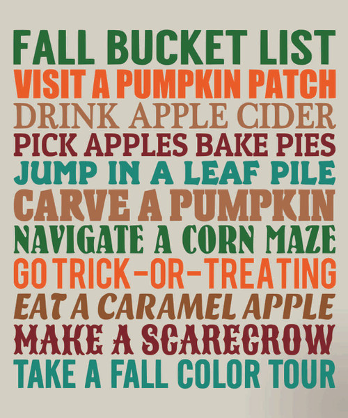 Fall Bucket List Vinyl Quote Seasonal Lettering Phrases