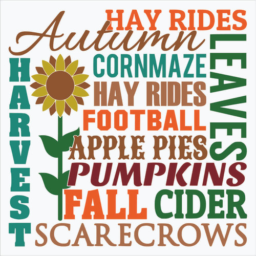 Fall Autumn Harvest Subway Art Vinyl Decal