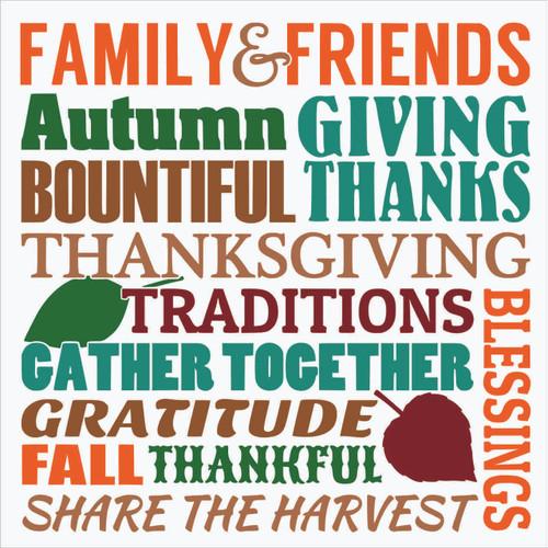 Fall Family & Friends Gather Vinyl Decal Thanksgiving Autumn Wall Art