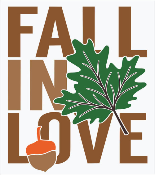 Fall in Love Vinyl Sticker Wall Decal Art Autumn Quote