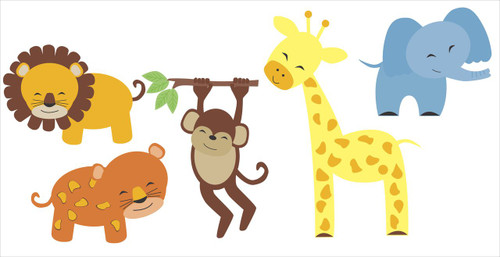Nursery Wall Decal Set Jungle Animals Elephant, Lion, Giraffe, Monkey Stickers