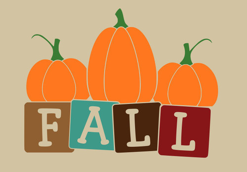 Fall Block Letters with Pumpkins Autumn Wall Decal