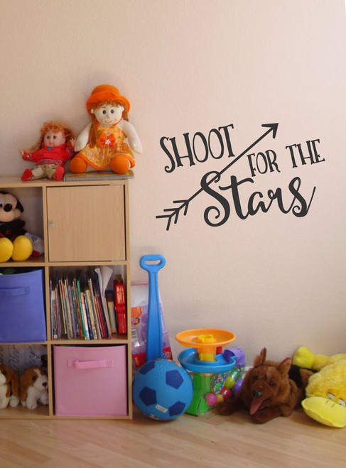Shoot for the Stars Inspiring Wall Decal with Arrows for Children's Room