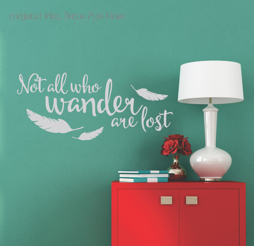 Gray Wall Decal Modern Art Vinyl Sticker Wander Lost with Feather