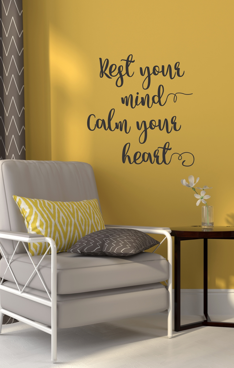 Wall Decal Quotes | Rest Your Mind Vinyl Wall Decals Encouraging Affirmation Health Quotes