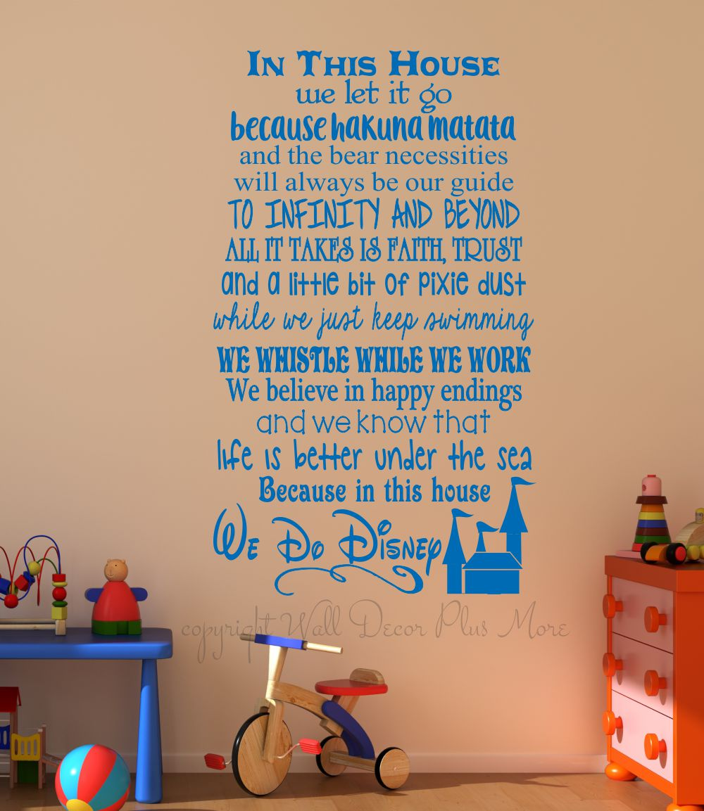In This House. We Do Disney, Wall Decals Letters for Cool Room