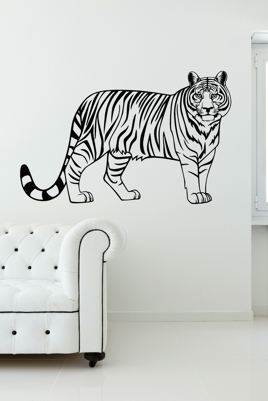 Tiger Jungle Animal Vinyl Wall Art Wall Decal Stickers for Home Decor  37x23-Inch
