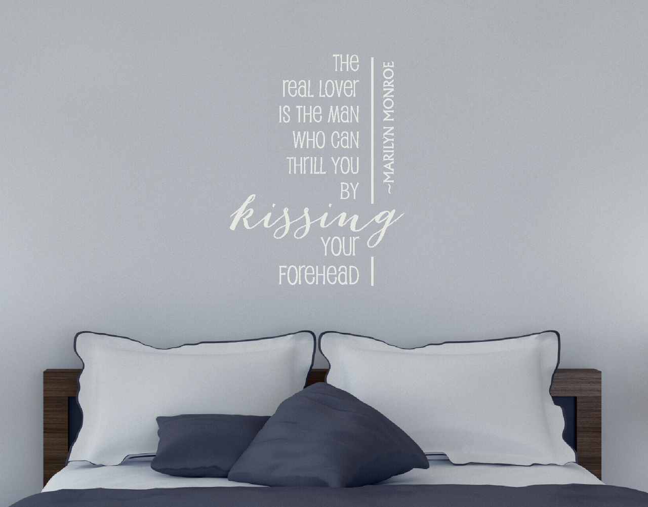 Kissing Forehead ~ Marilyn Monroe Vinyl Decal Wall Quote for Home Decor
