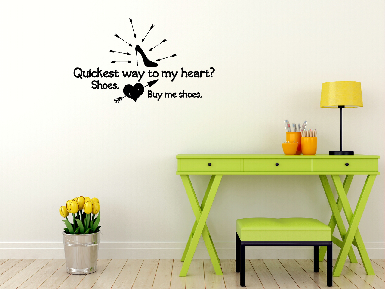 Buy Me Shoes - Funny Wall Decal Saying for Bedroom, Home Decor