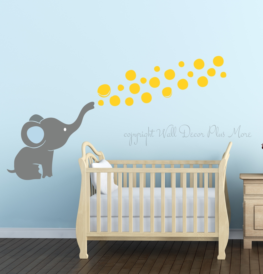 Elephant wall decal with floating bubbles cool nursery room decorstorm gray yellow