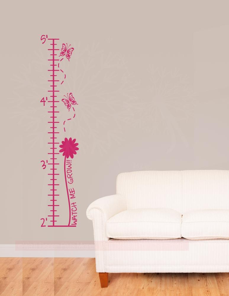Butterflies Flowers Height Chart For Girls Wall Growth Chart Ruler