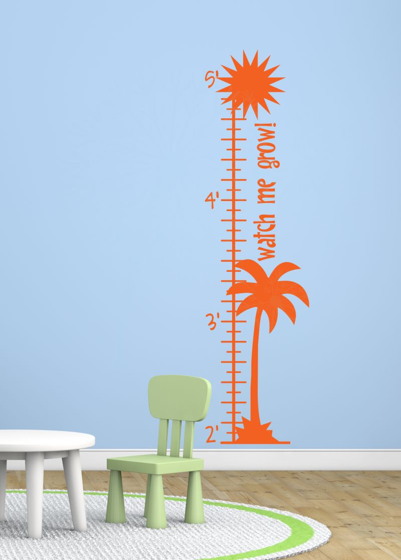Palm Tree Growth Chart Beachy Wall Art Decal Sticker For Kids Room  Décor Orange