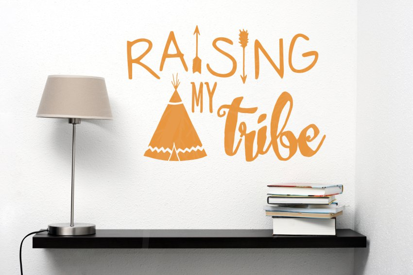 Raising My Tribe Family Wall Decals Home Decor Arrow Vinyl Lettering Quote Rust Orange