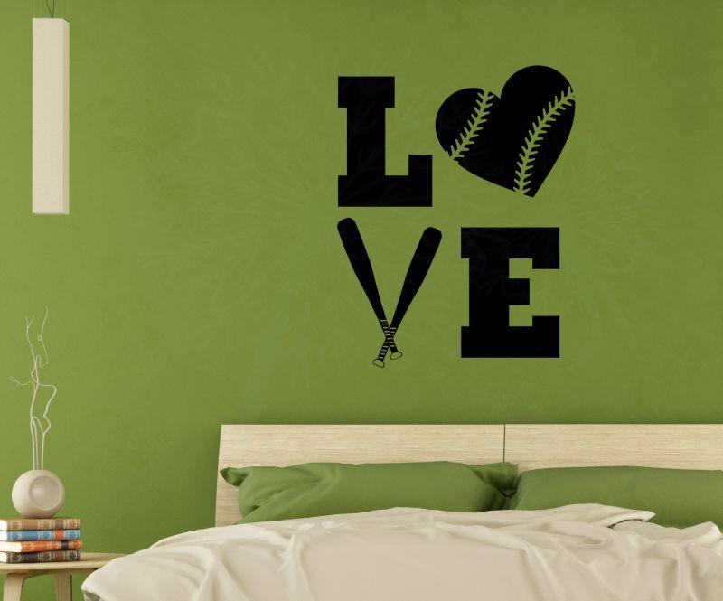 LOVE Softball Teen Vinyl Letters Art Wall Decals Stickers Girls Sports  Bedroom Decor-Black