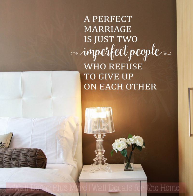 Perfect Marriage Is Two Imperfect People Wall Decals Vinyl Lettering ...