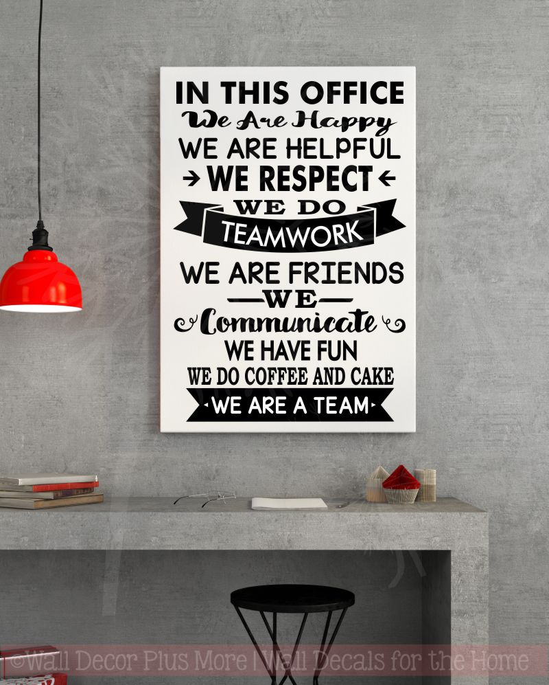 In this office we are team vinyl decals wall stickers art work decor quotes black