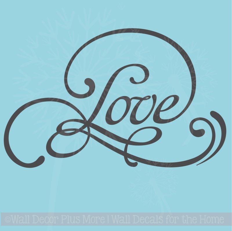 love swirl bedroom vinyl lettering art wall decals quote home decor