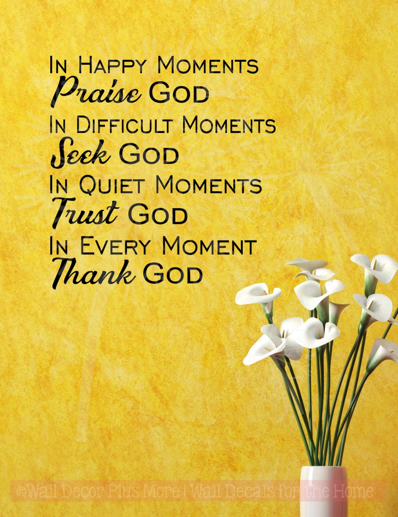 Every Moment Thank God Vinyl Letters Religious Wall Quotes Stickers