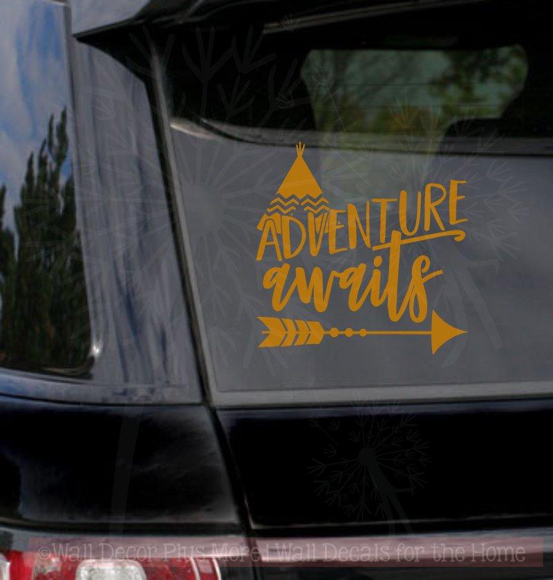 Adventure awaits quote with arrow vinyl car window decals sticker art copper