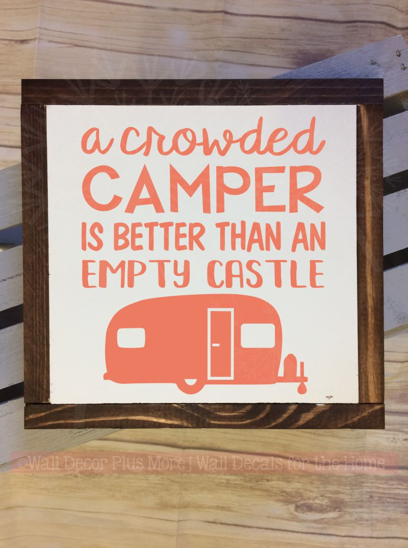 Crowded camper vinyl lettering decals rv wall art stickers coral