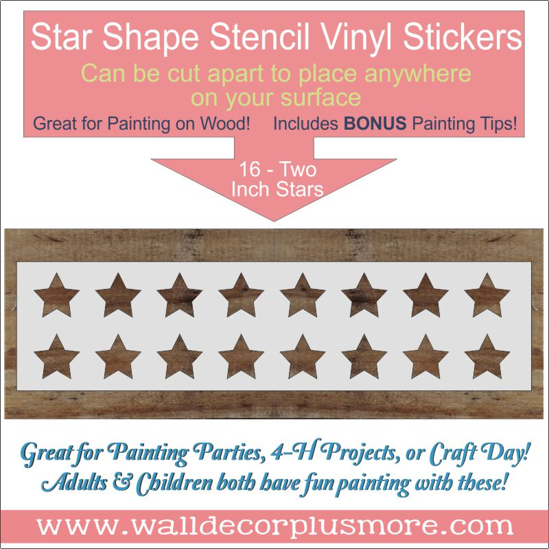 2 Inch Star 16 Stencils Stickers For Wood Projects For Wall Art Diy Home Decor