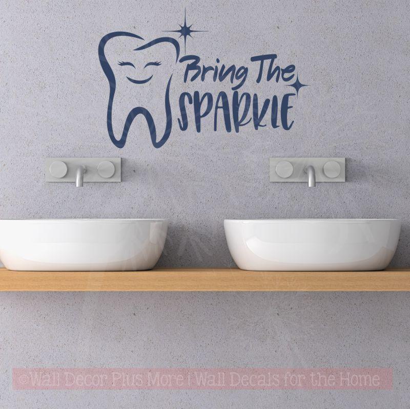 Bring Sparkle Dental Dentist Office Motivational Wall Vinyl Lettering  Decals Deep Blue