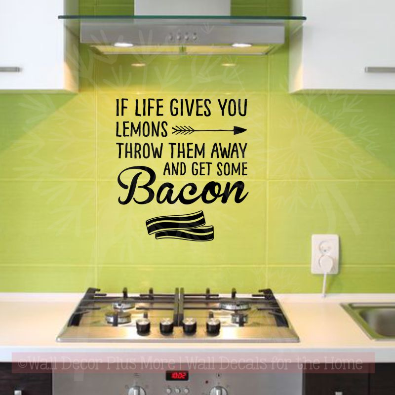 Kitchen Quotes Get Some Bacon Inspirational Wall Decals Funny Stickers