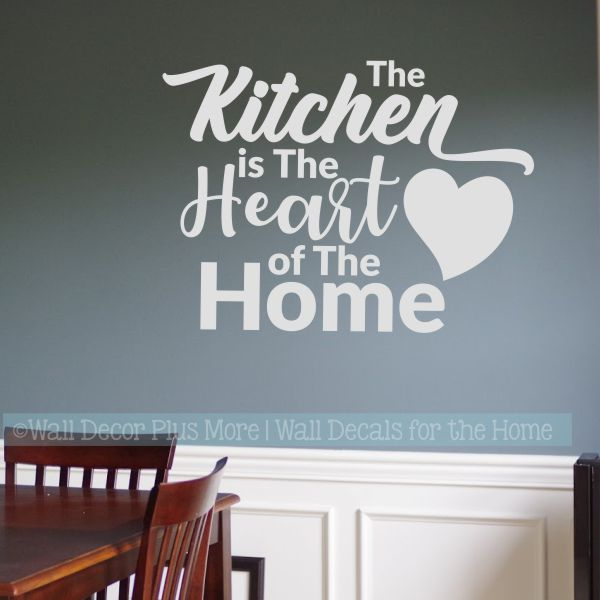 7ce4c2bd4d Kitchen Wall Decals Kitchen Heart Of Home Vinyl Lettering Stickers-Light  Gray