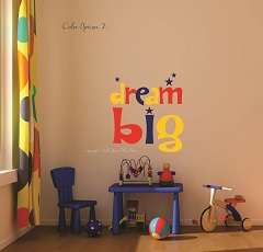 Children's Bedroom Simple Wall Decor WM0020 Dream Big Primary Color Wall Letters Nursery Kid's Playroom Decal Stickers