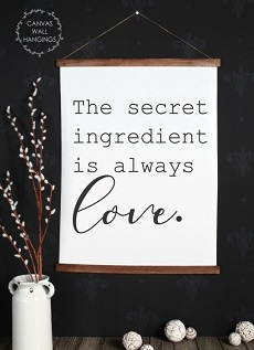 CWH0135 Canvas Wall Hanging Wall Art Print Kitchen Decor Secret Ingredient is Love 23x30