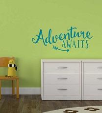 DA049-C Adventure Awaits Vinyl Wall Sticker Graduation Adventure Quote Decals
