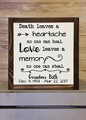 Decal Sticker on a wood sign board design WD846 Love leaves a Memory Memorial Wall Quote Vinyl Sticker Sympathy Wall Art
