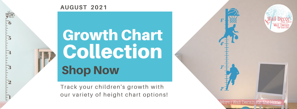 Growth Chart Wall Decal Stickers will help your track the growth of your littles! Nursery, Playroom, Bedroom or any where in your home!